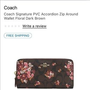 Coach Signature Accordion Wallet.